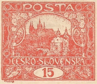 1919 Mucha Czechoslovak stamp Prague Castle 3