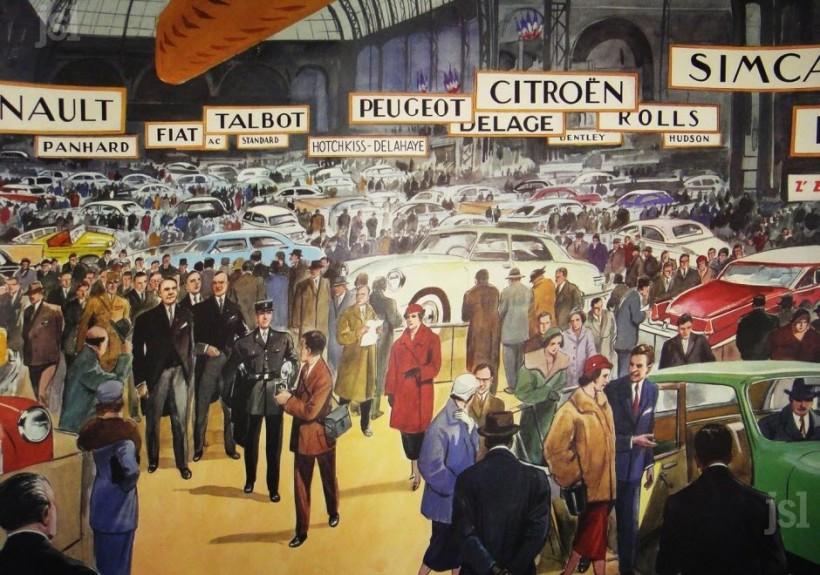 le-salon-de-l-auto-vers-1960-illustration-tableau-d-elocution-rossignol-